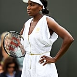 Redeeming herself in 2011 at the Wimbledon Open, Venus wore a classy white and gold flecked romper with a gold zipper and thin gold belt with loose sleeves and a diamond cut out in the back.