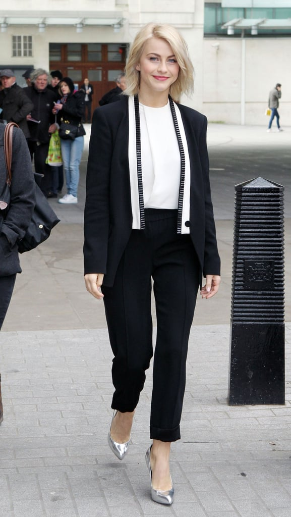 Julianne Hough wore metallic heels for a stop by BBC Radio in London.