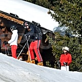 Kate Middleton with mother Carole Middleton, husband Prince William, and Pippa Middleton on a ski vacation in France.