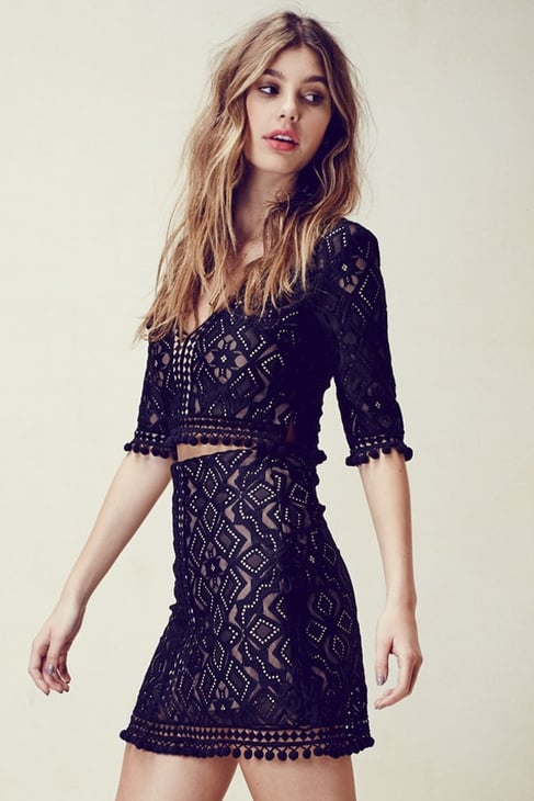 For Love & Lemons Florence Crop Top in Black ($180) and Skirt ($180)