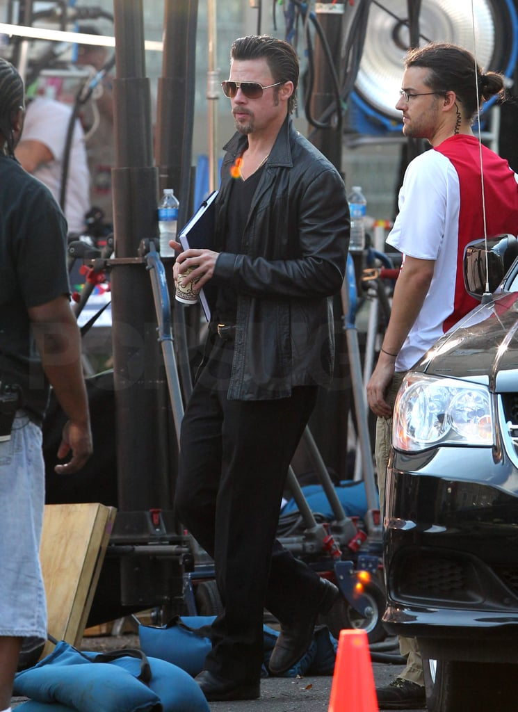 Brad Pitt fueled up with coffee today between scenes on the New Orleans set of Cogan's Trade. He left LA and headed to the Southern location over a week ago and has since been spotted shooting with costar Richard Jenkins. The Louisiana-based production gives Brad a chance to be in one of his favorite cities, also affording him the opportunity to check in on how his Make It Right foundation is faring. Brad's current project won't hit big screens until next year, but his Moneyball, which he filmed last Summer in Northern California, will be out in September.
