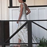 Cobie Smulders was spotted without shoes in her wedding dress.