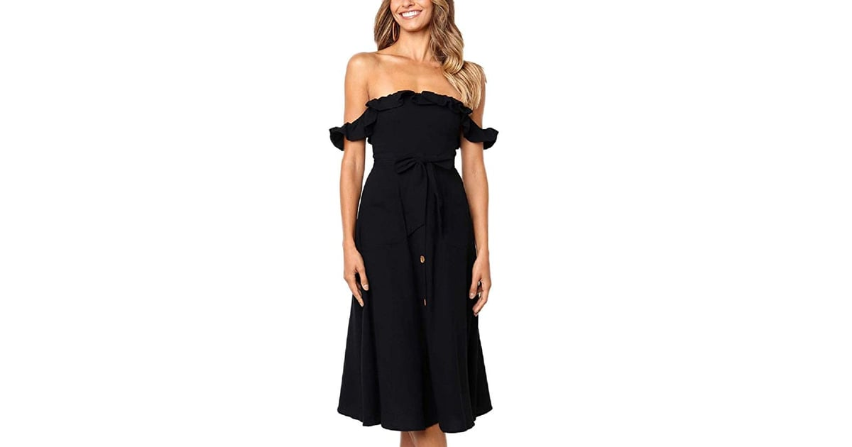 BEEY Ruffle Off-the-Shoulder Button-Down Midi Dress