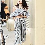 With Striped Trousers