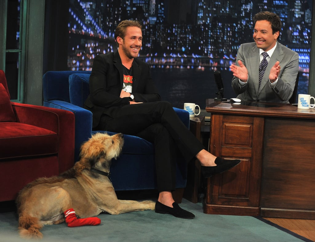 """Ryan Gosling brought his dog along yesterday for an interview on Late Night With Jimmy Fallon in NYC. The adorable pup has been Ryan's constant companion during his latest stint in the Big Apple, accompanying the actor along on lunch dates and even to a press junket last weekend. Ryan was without his animal pal on Tuesday, though, at the premiere of Crazy, Stupid, Love. Instead, Ryan cozied up to Emma Stone on the red carpet. Ryan spoke to Jimmy a little more about his new life as a New York resident. He said that his friends have given him some bad advice about navigating the city, recounting a tale of visiting the Turkish baths and being underwhelmed by the experience. Ryan also spoke about the scantily clad scenes he shares in the new comedy with Steve Carell. He said of his character, """"I fancy myself some kind of Lothario —I'm some kind of PG version of that guy The Situation on Jersey Shore."""""""
