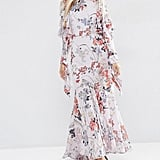 Cold Shoulder Long Sleeve Ruffle Maxi Dress In Grey Floral, $133