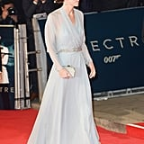 Kate chose this suitably ghostly porcelain blue-gray Jenny Packham for the premiere of Spectre.