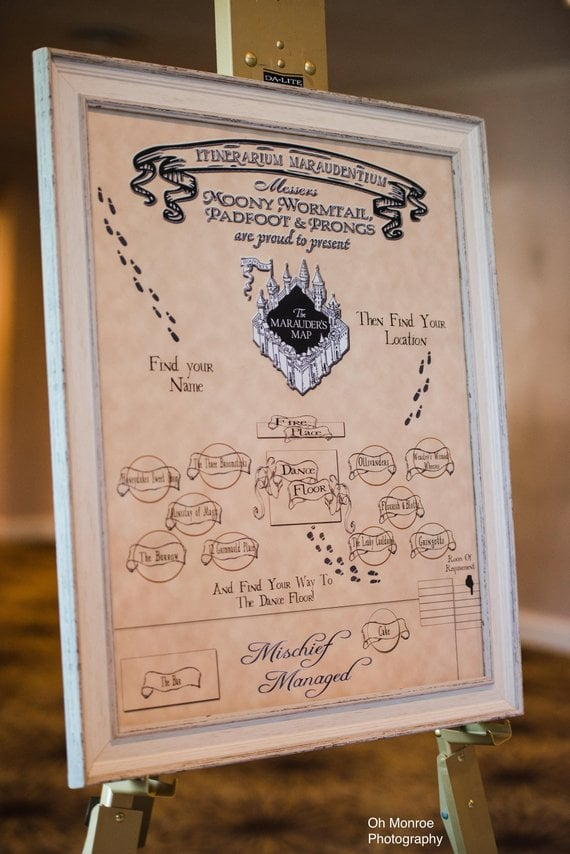 graphic regarding Marauders Map Printable identified as Harry Potter The Marauders Map Marriage ceremony Seating Chart