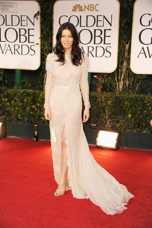 Jessica Biel in Elie Saab at the Golden Globes.