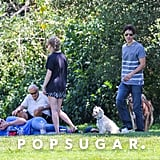 Justin Long and Amanda Seyfried spent the day at the park with their pups and friends.