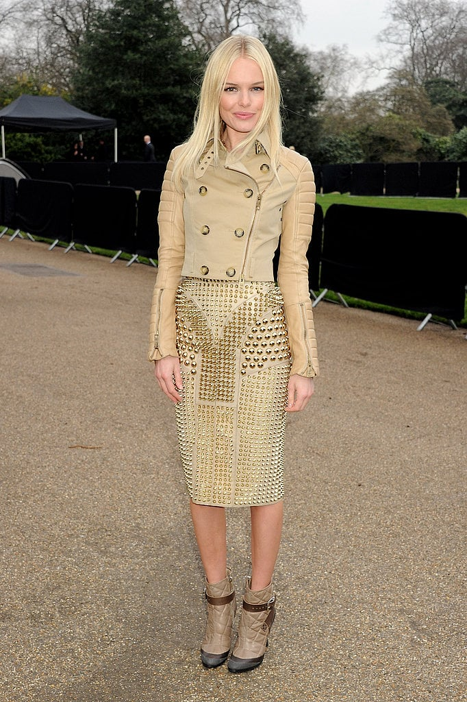 Kate Bosworth in studded Burberry at London Fashion Week in February 2011.
