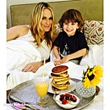 Molly Sims started her day with breakfast in bed with her eldest child, Brooks.