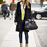A little yellow goes a long way with this sunny Winter style. Source: Adam Katz Sinding