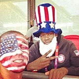 Kevin Durant cheered on the women's soccer team during their gold medal match. Source: Instagram user trey5
