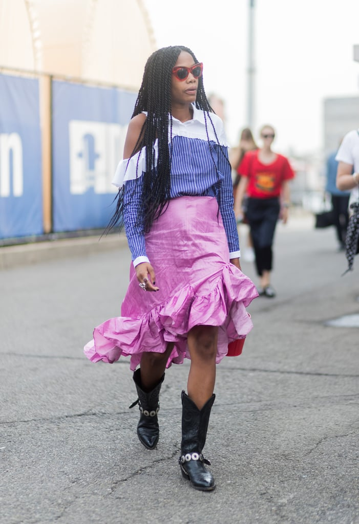 A pink ruffled skirt received an edgier update with Western-style boots.