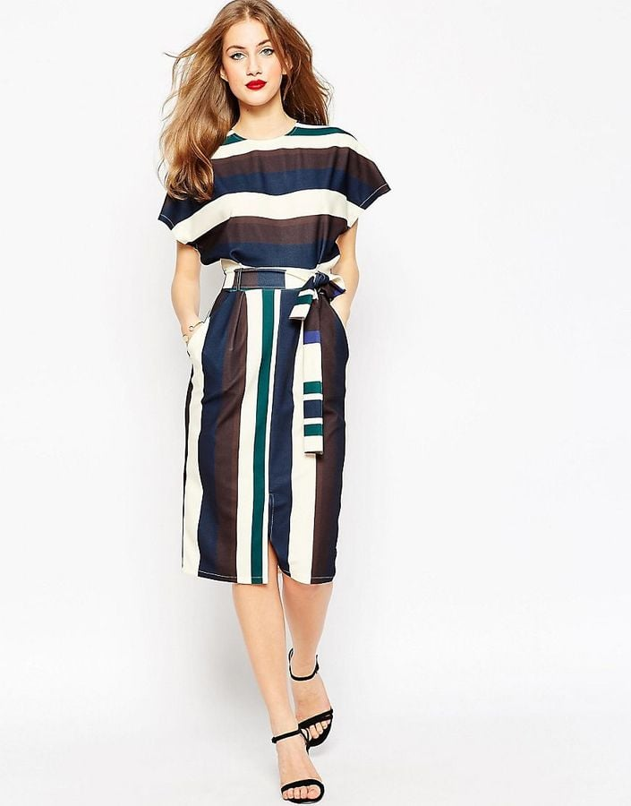 ASOS Belted Dress in Mixed Color Stripe ($68)