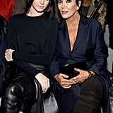Kendall Sat Front Row With Kris Jenner, Showing Off Her Thigh-High Leather Boots