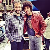 "Drake put a picture of himself and Judd Apatow on his Instagram account with the caption, ""Me and one of my heroes Judd Apatow."" Source: Instagram user champagnepapi"