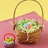 "Turn a traditional Easter basket into a mini edible cupcake. Everything from the handles to the ""eggs"" can be consumed by your little ones."