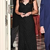 For a reception at the British Embassy, Kate changed into this sophisticated sheath dress from Alexander McQueen and a pumps by Gianvito Rossi.