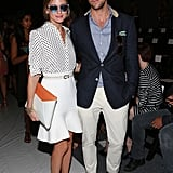 Olivia doubled up on the dots while Johannes kept it casual in the front row of Rachel Zoe's Spring 2014 runway show.