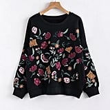 Shein Faux Pearl Detail Flower Embroidery Sweater