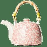 A Novel Idea Pink Bluebell Bamboo Handle Teapot