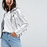 Vila High Shine Vinyl Leather Look Biker Jacket