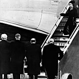 Greeted by Prime Minister Winston Churchill as the newly acceded Queen Elizabeth II returned to the country following the death of her father.