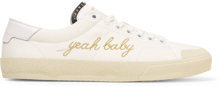 Saint Laurent Yeah Baby Leather-Trimmed Embroidered Canvas Sneakers ($545)