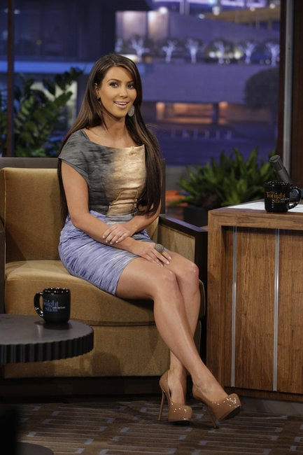When Kim appeared on Jay Leno in September 2010, she donned a beautiful Peter Pilotto sunset-print cotton dress, currently bidding at $420, that would look lovely at a bridal shower or charity auction.