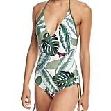 Seafolly Palm Beach Deep-V Maillot Halter One-Piece Swimsuit