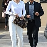 Jennifer Lopez wore an all-white ensemble for a working lunch with manager Benny Medina.