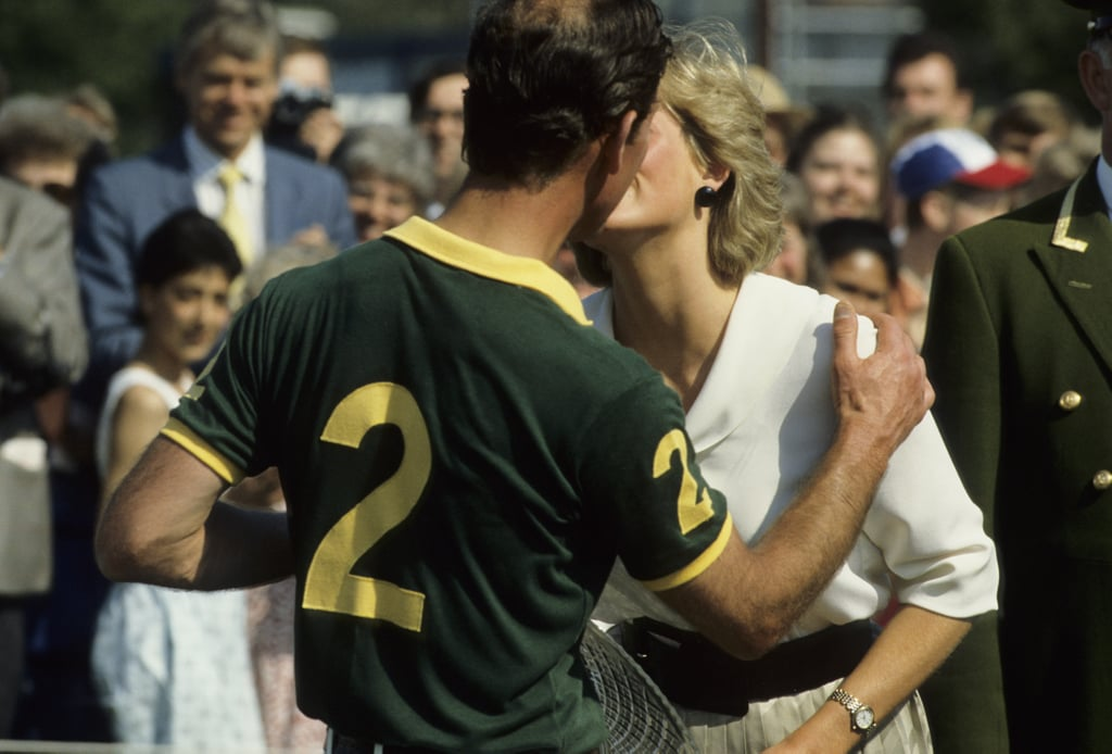 Another moment of affection between Charles and Diana in 1987.