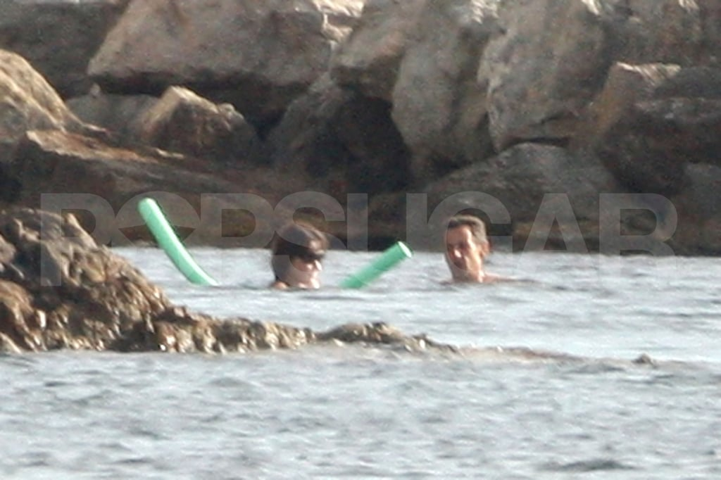 Carla Bruni-Sarkozy and Nicolas Sarkozy soaked up the sun in the Mediterranean.