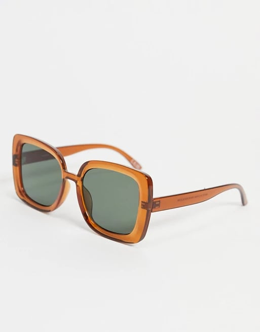 ASOS Design Recycled Frame Oversize '70s Sunglasses in Crystal Brown
