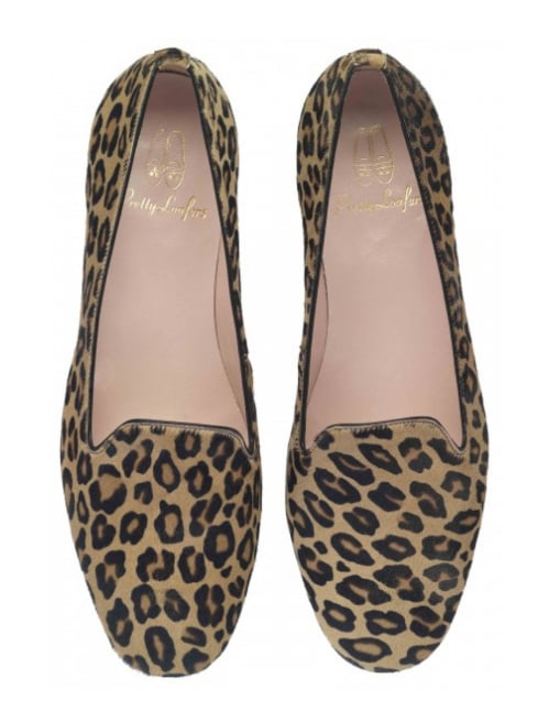 Pretty Ballerinas, the brand that has been making ballet slippers for a near century (the shoes have been made in the same Mediterranean village by the same family since 1918!), has turned its attention to another flat footwear option: the smoking slipper. These Pretty Loafers leopard pony-hair flats ($199) are just as comfortable, but look a bit more sophisticated. 