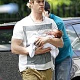Chris Hemsworth showed baby India's tiny face.