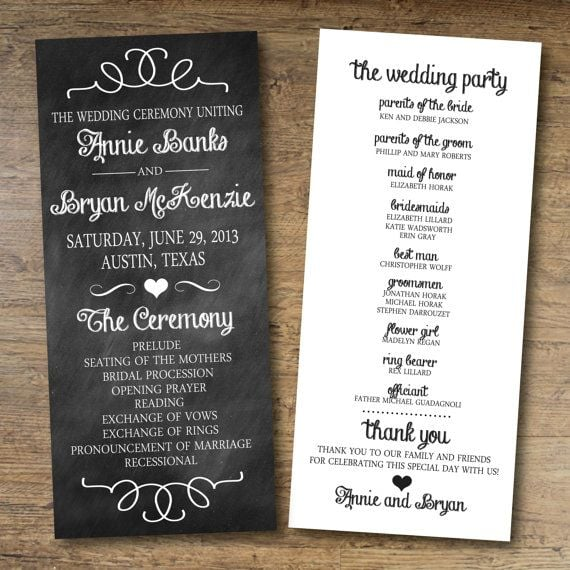Chalkboard Wedding Program  Printable Program Templates
