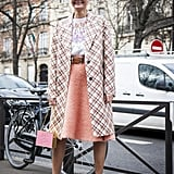 Styled a Pink Midi Skirt With a Checkered Coat