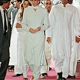 Princess Diana in a Blue Catherine Walker Dress in Pakistan, 1996
