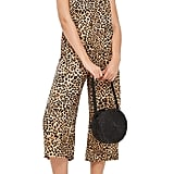 Topshop Animal-Print Satin Jumpsuit