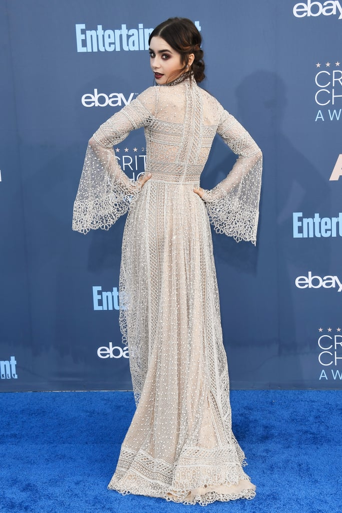 Lily Collins Elie Saab Dress At Critics Choice Awards