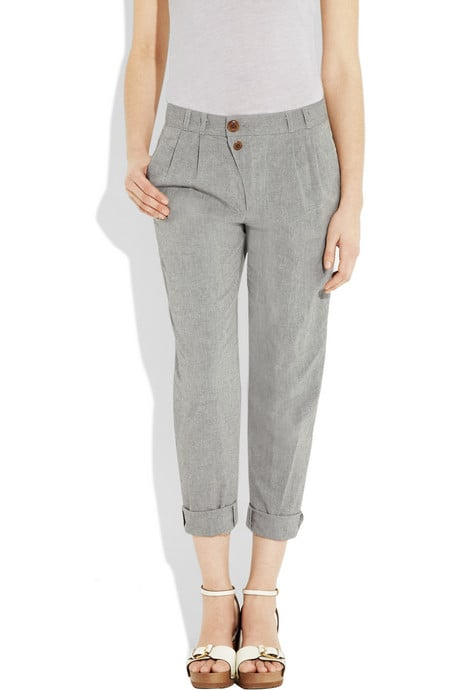 We love the crisp gray hue and slightly off-centered buttons and rolled cuffs. Steven Alan Cropped Cotton Pants, ($250)