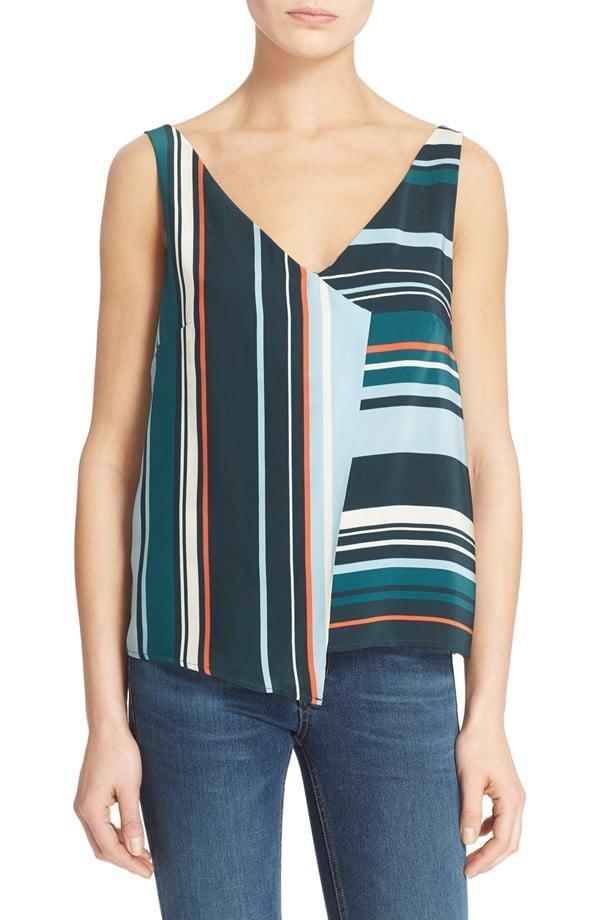 "Veda ""Drift"" Stripe Silk Tank ($235)"