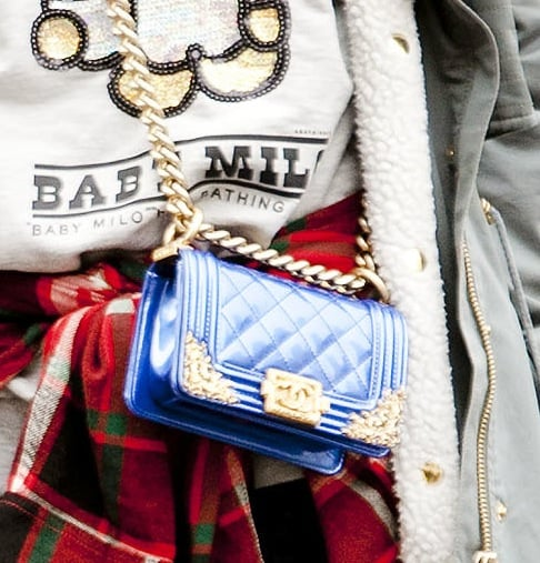 Bold gold accents give this Chanel mini a tough edge.