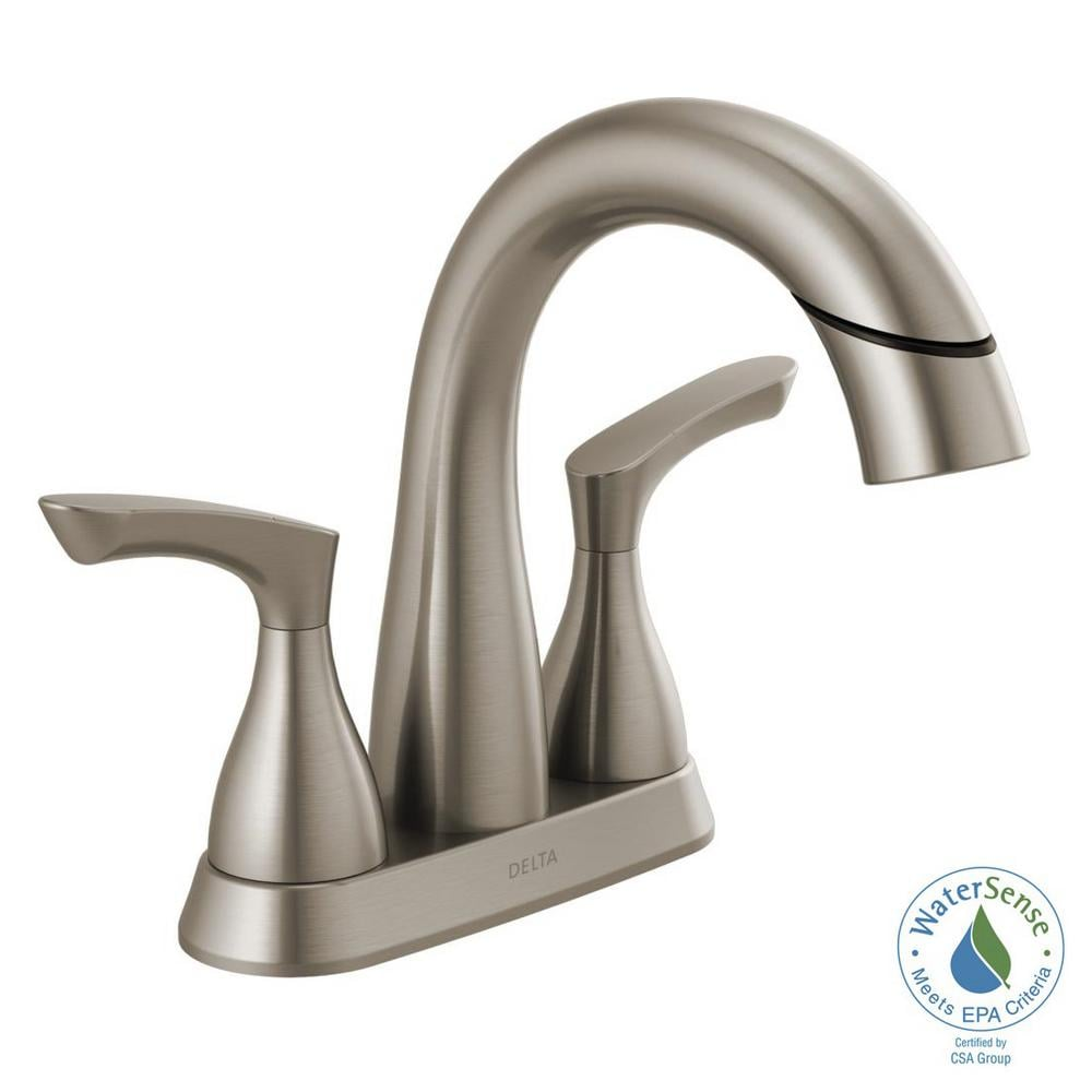 Broadmoor 4 in. Centerset 2-Handle Pull-Down Spout Bathroom Faucet in