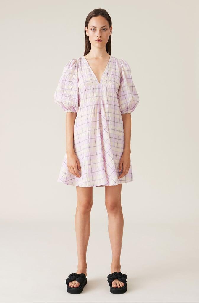 Shop Lilac Dresses: Ganni Seersucker Check V-Neck Dress