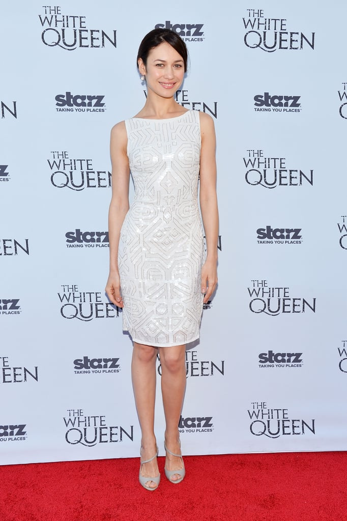 Olga Kurylenko's white sheath dress featured subtle sequins at The White Queen premiere in LA.