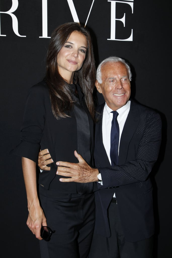 Katie Holmes with Giorgio Armani in Paris.